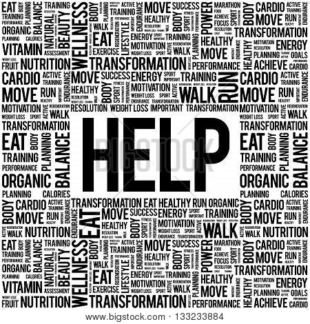 HELP word cloud background health concept, presentation background
