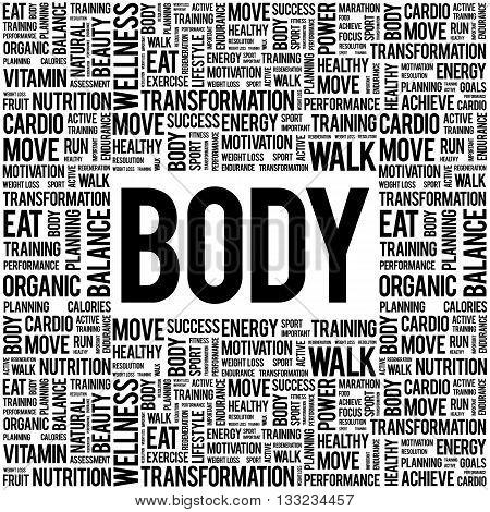 BODY word cloud health concept, presentation background