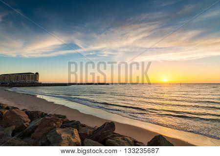Famous Glenel beach at sunset. South Australian coast.