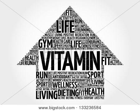 VITAMIN arrow word cloud health concept, presentation background
