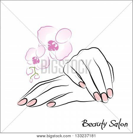 Female hand with painted nails, pink manicure symbol. Vector illustration.