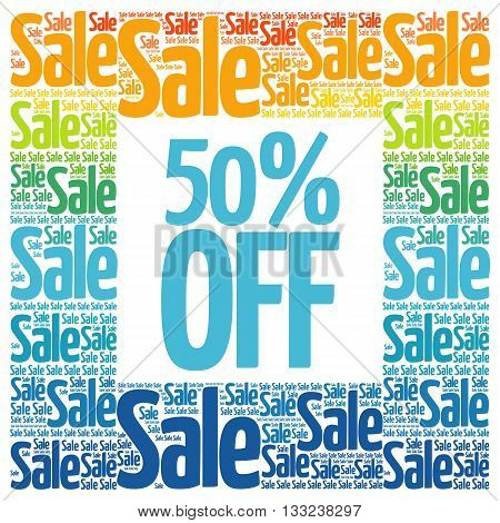 50% Off Sale Words Cloud
