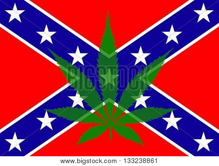 The confederate flag with a seven point marijuana leaf overlaid onto it to create an illustration of times gone past and times of the present