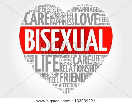 Bisexual concept heart word cloud, presentation background