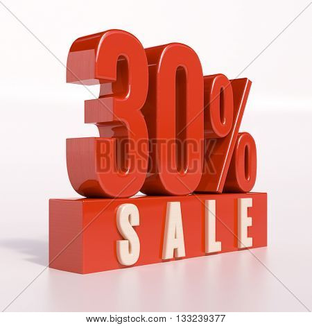 3d render: red 30 percent, percentage discount sign on white, 30% off, Illustration for sale actions