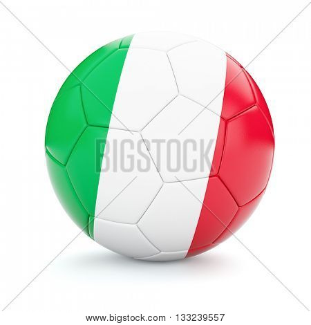 3d rendering of Italy soccer football ball with Italian flag isolated on white background