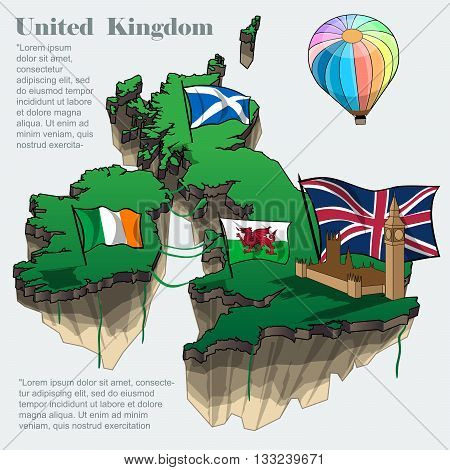United kingdom country infographic map in 3d with country shape flying in the sky with clouds big flags of ireland scotland and a colored flying balloon. Digital vector image