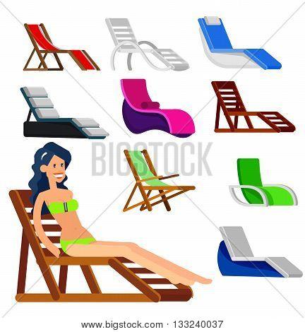 beach chaise longue in different design. Detailed character woman lies in a beach chaise longue.Vector beach chaise longue set