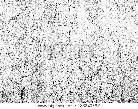 Cracks texture overlay. Dry cracked ground texture. Cracked concrete wall texture. Abstract grunge white and black background. Vector illustration.