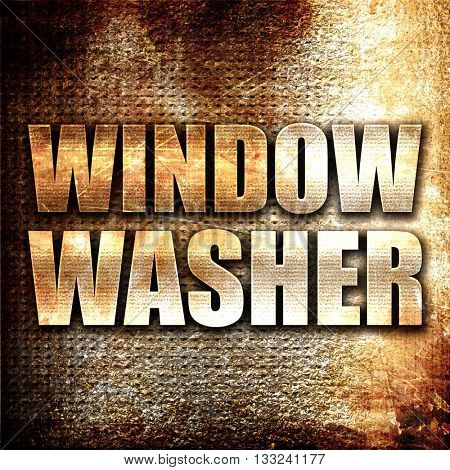window washer, 3D rendering, metal text on rust background