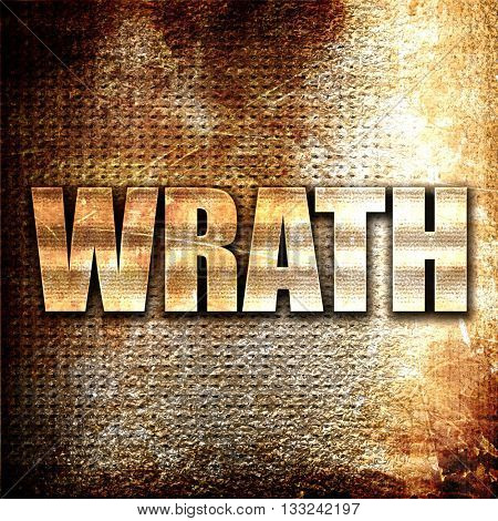 wrath, 3D rendering, metal text on rust background