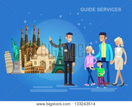 High quality, detailed most famous World landmarks. Characters Family on guided tours. Travel vector. Travel illustration. Travel landmarks. Happy travel