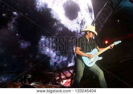 NEW YORK-JUN 27: Country musician Brad Paisley performs onstage at the 2015 FarmBorough Festival - Day 2 at Randall's Island on June 27, 2015 in New York City.