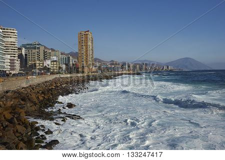 ANTOFAGASTA, CHILE - MAY 15, 2016: Waves coming ashore at Antofagasta on the Pacific coast of Chile.