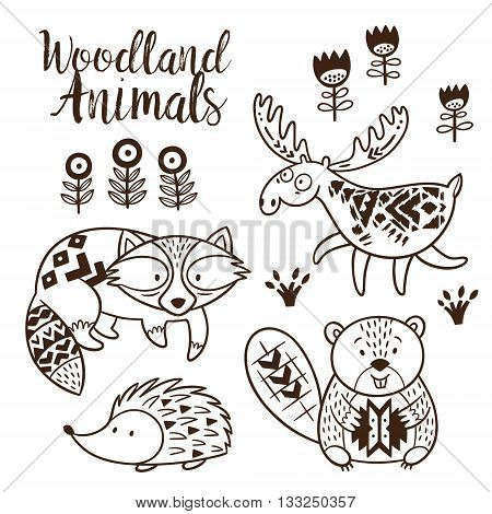 Woodland Animal Coloring Pages for Kids. Hand drawn vector on a white background. Coloring book. Ornamental tribal patterned illustration for tattoo, poster, print. Tribal animal coollection of deer, raccoon, beaver and hedgehog
