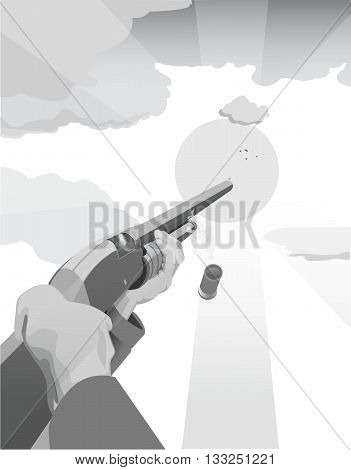 An illustration of a trap shooter shooting a clay pigeon with sun and clouds in the distance