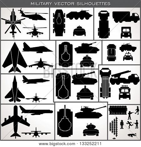 Abstract Military Silhouettes. Various Planes Vehicles Tanks, Troops. Vector Collection