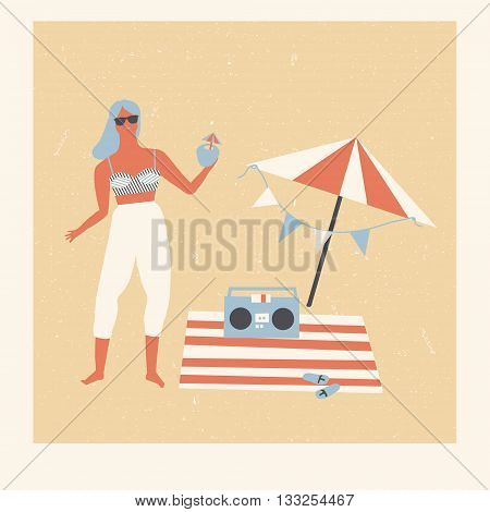 Summer beach party picnic poster. 1950S Surf girl dancing and drinking tropical cocktail.