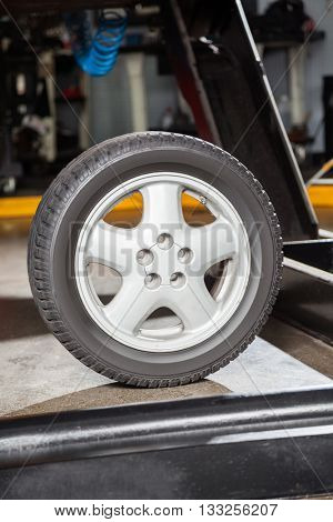 Tires On Hydraulic Lift