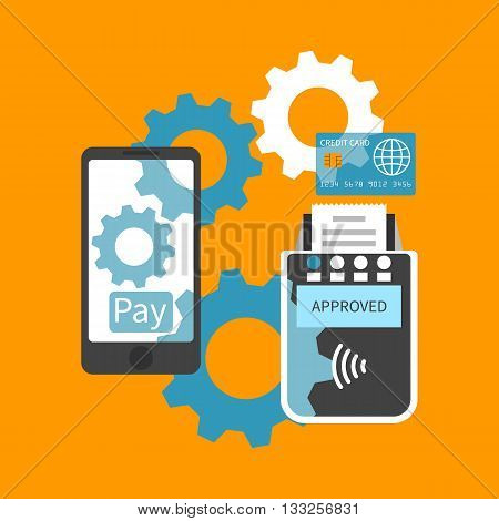 Mobile payments. Payment smartphone communicate with the terminal. Modern methods of payment. Nfc payment. Mobile banking mobile payment service. Vector flat. Payments concept. Contactless payment.