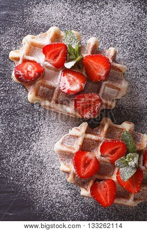 Liege Waffles With Fresh Strawberries, Powdered Sugar Closeup On The Slate. Vertical Top View