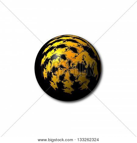 A black and yellow abstract fractal globe on white background.
