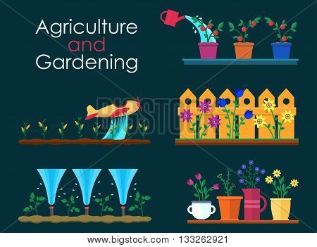 Vector flat banners for garden work and gardening projects. Automatic Sprinklers Watering. Agriculture and gardening. Hello spring and summer. EPS 10