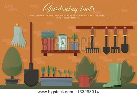 Vector flat illustration of garden agricultural accessories, tools, instruments. Equipment for soil work. Trowel, shovel, radish, bush, tree, spade and rubber gloves, pot with plants and seeds. EPS 10
