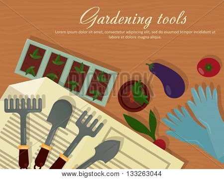 Vector flat illustration of garden agricultural accessories, tools, instruments. Equipment for farmyard. Trowel, shovel and radish, eggplant, tomato and carrot, rubber gloves, pot with plants. EPS 10