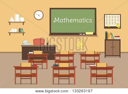 Vector flat illustration of mathematic classroom at the school, university, institute, college. Desks with books rulers, prism, pyramid, table, barrel. Lesson for diploma, teaching and learning. EPS 10