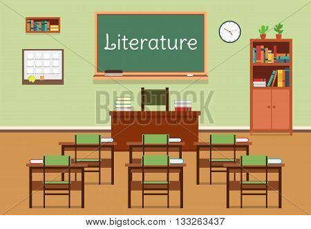 Vector flat illustration of literature classroom at the school, university, institute, college. Lesson for diploma, teaching and learning. School classroom with chalkboard and desks. Eps 10