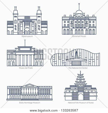 Monuments thin line vector icons. Amsterdam state museum, Somerset House, The National Art Center, State Hermitage Museum, National Folk Museum of Korea. Famous world museums. Eps 10