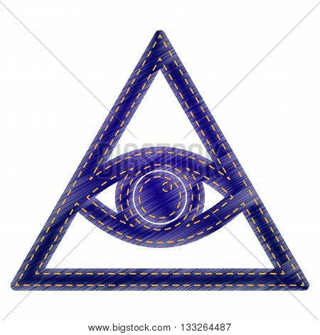 All seeing eye pyramid symbol. Freemason and spiritual. Jeans style icon on white background.