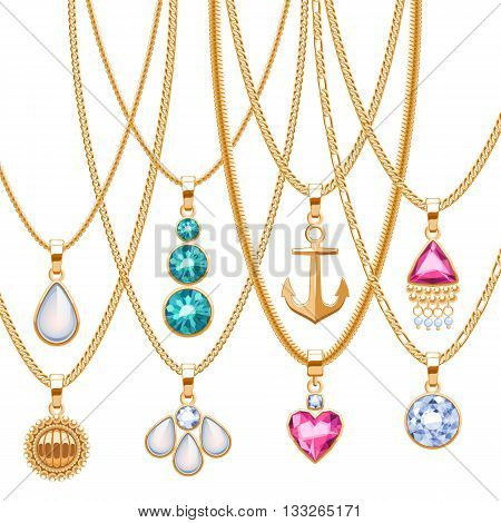 Set of golden chains with different pendants. Precious necklaces. Golden pendants with gemstones pearls. Ruby diamond pendants design vector illustration.