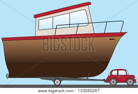 Little cartoon car towing huge boat to the water