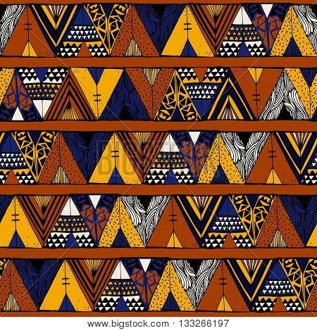 Tepee seamless pattern. Wigwam native american summer tent illustration in vector. Indian background.