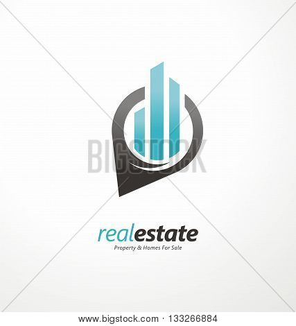 Creative real estates symbol layout. Pin sign with blue city skyline. Vector logo design concept.