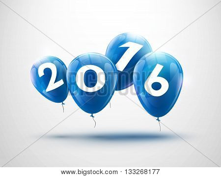 Sample greeting card 2016 Christmas card with realistic blue balloons and numbers. Image Printer, stocks, greetings, e-mail, Web. Vector illustration.