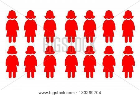 vector icon illustration of a group of women
