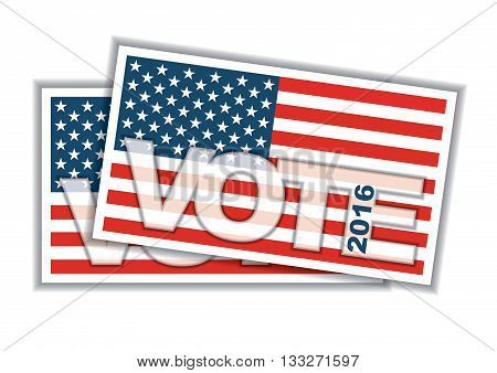 Voting concept. Bulletin with American flag, abstract illustration