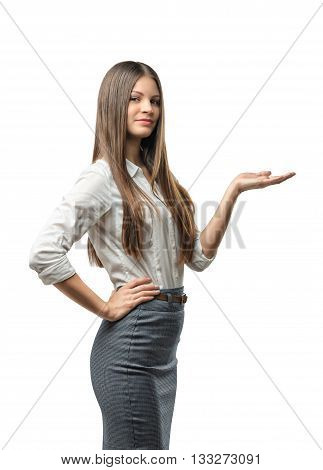 Cutout female model standing sideways raised her hand to present something. Presentation. Business staff. Affability. Invite and guide. Presentable appearance. Office clothes. Dress code.