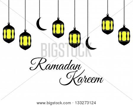 Ramadan Kareem, Lantern And Moon, Muslim Holiday Lights On A White Background. Vector.