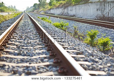 railroad nature  at  chonburi of thailand   background