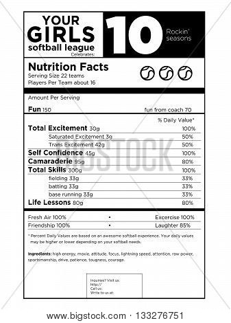 Black and white customizable girls softball vector logo with play on nutritional facts
