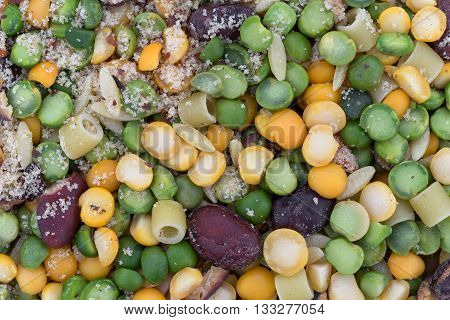 Very close view of the ingredients of dry minestrone soup mix.