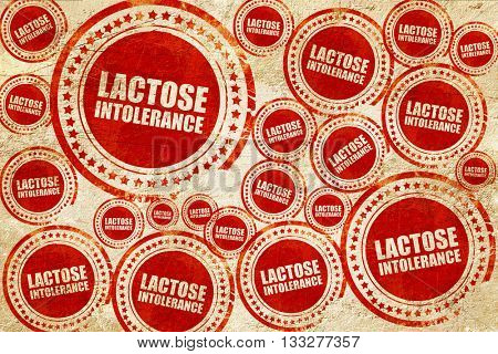 lactose intolerance, red stamp on a grunge paper texture