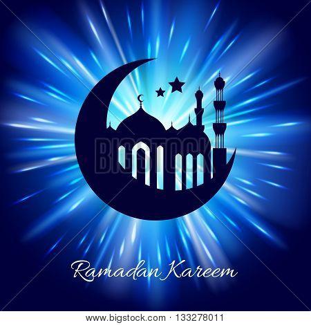 Ramadan kareem. Ramadan background design vector illustration. Ramadan greeting card poster flyer backdrop. Beautiful glow light with mosque and minarets silhouette.