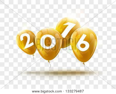 Sample Greeting Card 2016 Christmas card with realistic Yellow Balloons and numbers on transparent background. Image Printer, stocks, greetings, e-mail, Web. Vector illustration.