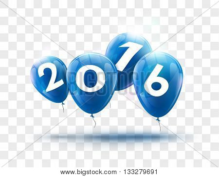 Sample Greeting Card 2016 Christmas card with realistic Blue Balloons and numbers on transparent background. Image Printer, stocks, greetings, e-mail, Web. Vector illustration.