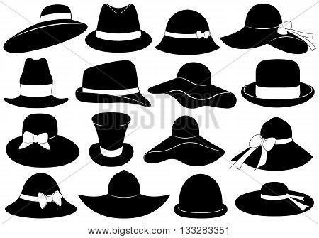 Black hats illustration isolated on white background